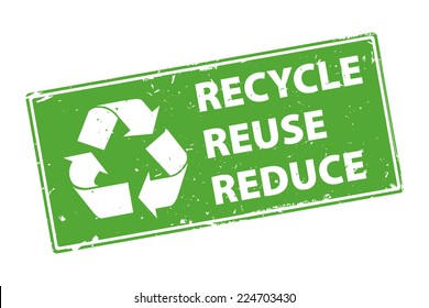 Recycle Reuse Reduce green rectangle rubber stamp icon isolated on white background. Vector illustration
