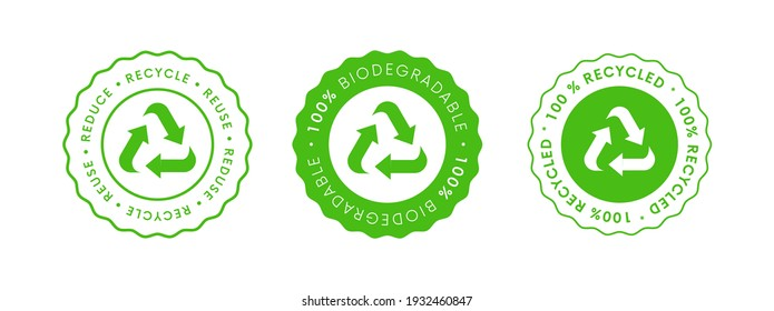 Recycle Reuse Reduce Icon. 100% Biodegradable Recycled  Vector Sign.  Package eco packet logo.