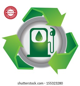 Recycle, Save The Earth or Stop Global Warming Concept Present By Green Recycle Sign With Gasoline Icon Inside Isolated on White Background