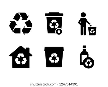 Recycle set icon vector. Contains Icons throw garbage, trash, recycle  and more