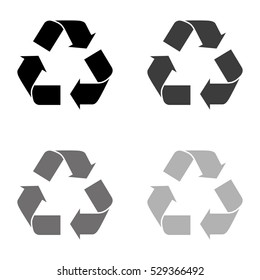 Recycle sign -  black vector icon