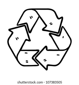 recycle sign in doodle style
