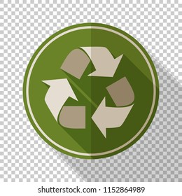 Recycle sign in flat style with long shadow on transparent background