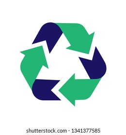 Recycle sign icon. Arrow icon vector. Recycling sign. Recycle symbol graphic design. Illustration of recycling. Vector abstract illustration of green recycling symbol isolated on white background