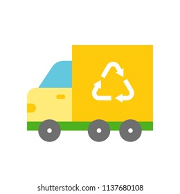 Recycle sign on garbage truck, Flat icon