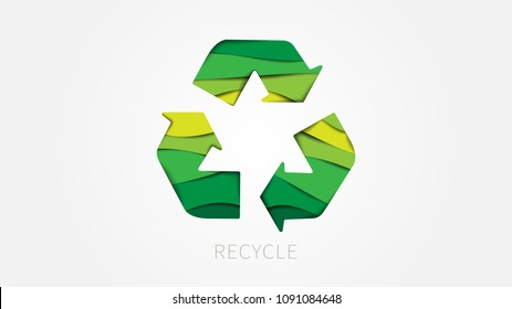 Recycle sign paper cut style vector illustration. Recycle (reuse) symbol creative concept.