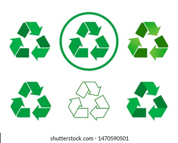 Recycle sign set on white background. Different green recycle icon collection. Six variations of green recycle symbol with full color, gradient and outline. Vector illustration, flat style, clip art.