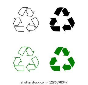 Recycle sign symbols isolated on white background vector illustration.
