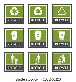 recycle signs and recycling icons set, trash symbol
