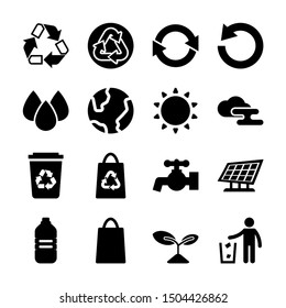 recycle solid icons vector design