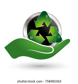 Recycle symbol in hand ecology