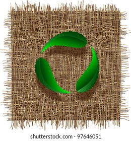 Recycle symbol with leaf on organic weave.Eco vector background
