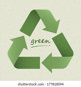 recycle symbol on light  green cardboard background. vector.
