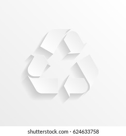 Recycle symbol with shadow. Cut paper isolated on a white background. Vector illustration.