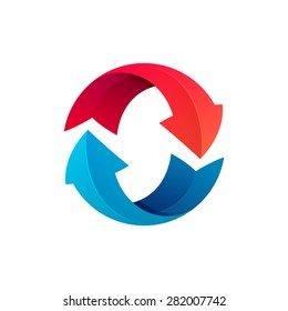 Recycle symbol or sign of arrow refresh, reload, rotation, packaging, loop sphere logo. Vector illustration design elements.
