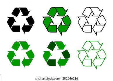 recycle symbol or sign set, isolated on white background. this symbol may be used to designate recyclable materials. vector illustration