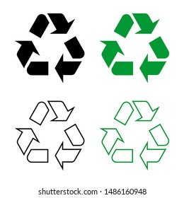 recycle symbol vector icon logo template sets black and green solid color and outline. isolated on white background.