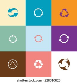 Recycle symbols set. Flat color vector icons.