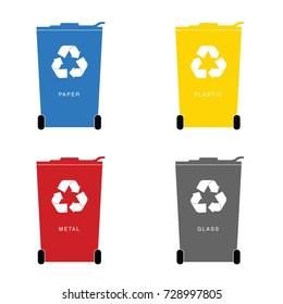 recycle trashcan set art illustration