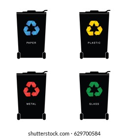 recycle trashcan set with icon on it art illustration