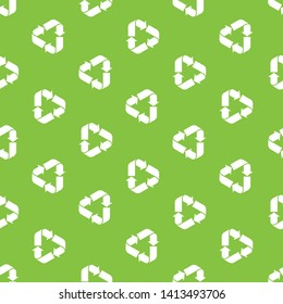 Recycle triangle seamless pattern. Recycle Recycling pattern symbol vector. World Environment Day poster. Eco recycled symbol pattern vector illustration isolated on green background.