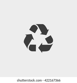 Recycle  vector icon. Style is flat symbol, gray color, rounded angles, white background.