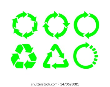 Recycle vector icons. Vector symbol of recycling and arrow rotation