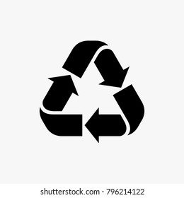 Recycle vector illustration, Black recycle sign vector illustration isolated on white background