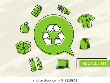Recycle it vector illustration. Recyclable things: clothes, lamp, cardboard box, electronics, bottles, food, paper, etc.
