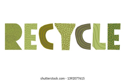 Recycle vector paper cut word
