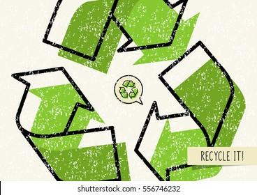 Recyceln Sie es Vektorplakat. Wiederverwertung von Symbolen mit wiederverwertbaren Dingen kreative Illustration.
