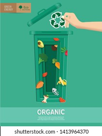 Recycle waste bins infographic, Waste types segregation recycling concept about with paper,organic,plastic on paper craft die-cut.Green and Sustainable, vector illustration,ecology conceptual design.