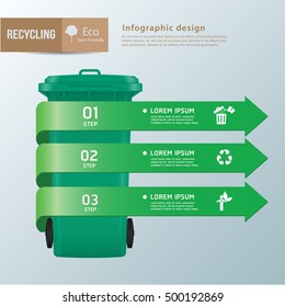 Recycle waste bins infographic, Waste types segregation recycling concept,paper,organic,plastic on paper craft die-cut.Green and Sustainable, vector illustration green ecology recycle concept design.