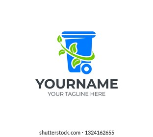 Recycle and waste disposal, refuse container with a branch and leaves around, logo design. Ecology, environment and earth protection from pollution, vector design and illustration