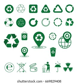 Recycle Waste Symbol Green Arrows Logo Set Web Icon Collection Vector Illustration
