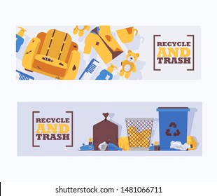 Recycle waste and trash concept banners vector illustration. Littering waste disposed improperly around blue plastic dust bin. Recycled garbage can. Rubbish on ground.