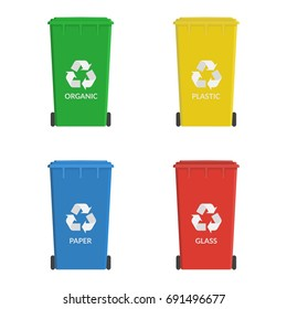 Recycle wheelie bin set icon. Garbage or trash cans. Ecology concept. Containers for recycling waste sorting - organic, plastic, paper, glass. Vector illustration