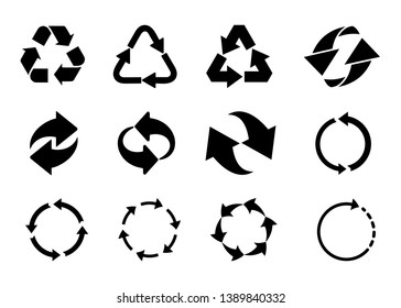 Recycled cycle arrows icon set. Vector illustration