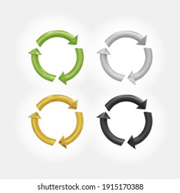 Recycled cycle arrows icon set. Recycling and rotation arrow green, golden, black and silver icon pack. Realistic recycled eco icon 3d. Vector illustration. Isolated on white background.