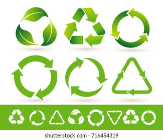 Recycled cycle arrows icon set. Recycled eco icon. Vector illustration. Isolated on white background