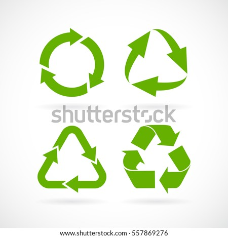 recycled cycle arrows vector icon set stock vector royalty free