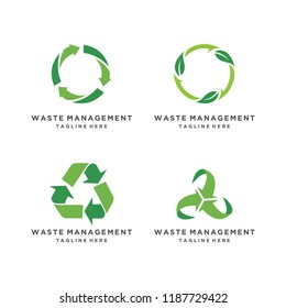 Recycled eco vector icon set. Recycle arrows ecology symbol on white background.