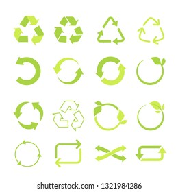 Recycled eco vector icon set, cycle and triangle arrows in a flat style. Recycled green arrows eco sign set. Vector illustration isolated on white background.