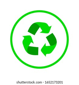 recycled logo in green inside the circle
