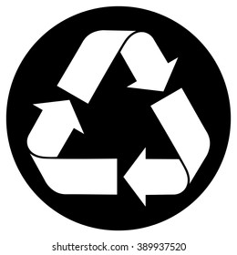Recycled paper symbol , white recycle icon with black round background
