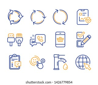 Recycling, 24h service and Smartphone buying icons simple set. Report checklist, Recycle and Checklist signs. Computer cables, Tap water and Refresh symbols. Line recycling icon. Colorful set. Vector