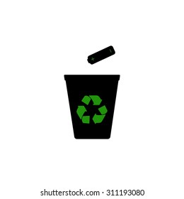 Recycling batteries. Recycling batteries. Trash can. Terms disposal. Recycling logo.