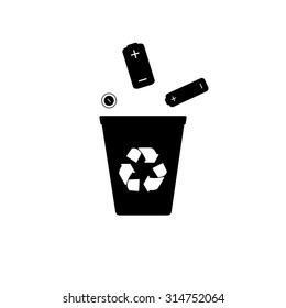 Recycling batteries. Trash can. Terms disposal. Recycling logo. Waste raw materials. Hazardous waste. Environmental pollution