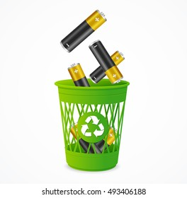 Recycling Battery Concept. Batteries Falling into Green Recycle Bin. Vector Realistic illustration of Waste Management Concept.