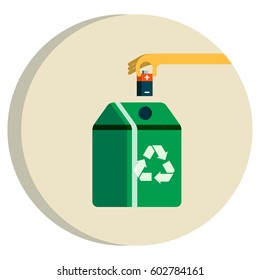 Recycling Battery Concept. Batteries Falling into Green Recycle Bin.